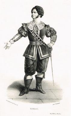 RUBINI (dans I Puritani rôle d'Arturo en 1835) - Giovanni Battista Rubini (7/04/1794 - 3/03/1854) - ténor italien au Théâtre - d'après Alexandre Lacauchie - 1841 - MAS Estampes Anciennes - Antique Prints