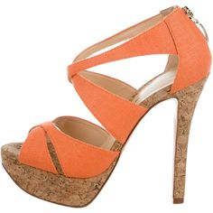 Pre-owned Alexandre Birman Crossover Platform Sandals (€81) ❤ liked on Polyvore featuring shoes, sandals, orange, canvas sandals, platform sandals, platform canvas shoes, orange shoes and zipper shoes