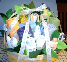 This is such a delightful baby shower gift basket! Making your own gift basket can be an art, and looking at the gift basket photo above, they can turn