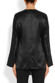 Givenchy - Fringed Top In Black Silk-satin - FR38