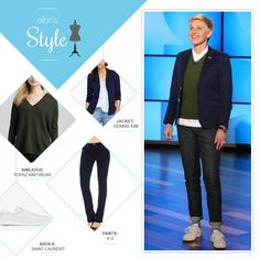 Ellen's Look of the Day: navy blazer, green sweater, jeans, white shoes