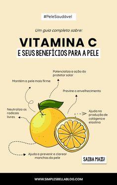 VITAMINA C: Quais são os benefícios para a pele? (GUIA COMPLETO) Perfect Live, Make Beauty, Canal E, Skin Tips, Blush, Skin Care, Fruit, Instagram, Bronze