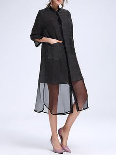 Black Ramie Paneled Stand Collar Casual Tunic