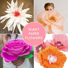 From top left clockwise: DIY Giant Flowers via Green Wedding Shoes / DIY Giant Paper Flowers from Ruche via Design*Sponge / Giant Paper Poppy Flowers via Martha Stewart / DIY Giant Paper Rose Flowe. Giant Paper Flowers, Diy Flowers, Fabric Flowers, Poppy Flowers, Craft Wedding, Wedding Paper, Diy Wedding, Diy Paper, Paper Crafts