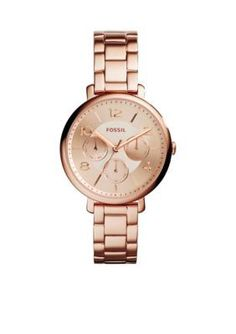 Fossil  Womens Rose Gold-Tone Stainless Steel Jacqueline Multifunction