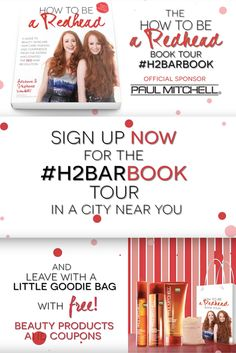 The H2BAR Book Tour is coming to a city near you. So excited to have @paulmitchellus as our official sponsor. They will be beautifying & pampering you with complimentary swag...& more. And, there is no cost to RSVP or attend. Click photo claim your spot before we reach capacity.