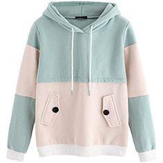 SweatyRocks Sweatshirt Women Colorblock Pullover Fleece H. Pullover, Fleece Hoodie, Sweater Hoodie, Home Fashion, Beige, Sweaters For Women, Sweatshirts, Clothes, Long Sleeve