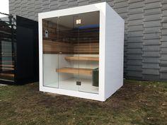 White outside sauna