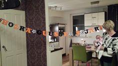 Een leuke aparte naamslinger gemaakt door Partyslingers.nl