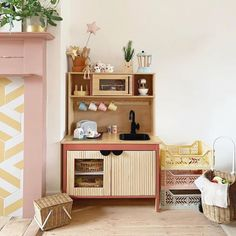 """""""Pretty much my dream kitchen but in miniature. """"Pretty much my dream kitchen but in miniature."""" says who renovated her DUKTIG kitchen with textured ribbed wood doors and paint and . Ikea Kids Kitchen, Real Kitchen, Kitchen Hacks, Kitchen Reno, Kitchen Tables, Kitchen White, Ikea Hacks, Ikea Hack Kids, Kura Ikea"""