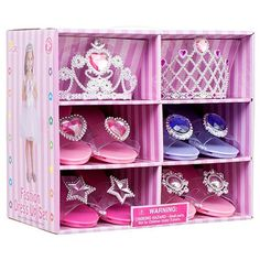 Princess Dress Up & Play Shoe and Tiara (Includes 4 Pairs of Shoes + 2 Tiaras ) By Blue Green Novelty Little Girl Toys, Baby Girl Toys, Toys For Girls, Toddler Princess Costume, Princess Costumes, Princess Dress Up Shoes, Hunter Boots Kids, Disney Princess Toys, Dress Up Costumes
