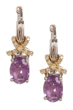 Two-Tone Diamond Crisscross & Oval Amethyst Earrings - 0.07 ctw on HauteLook