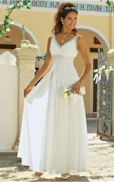 Comfy A-Line V-Neck Beaded On Waistline Pleated Ankle-Length Wedding Dresses