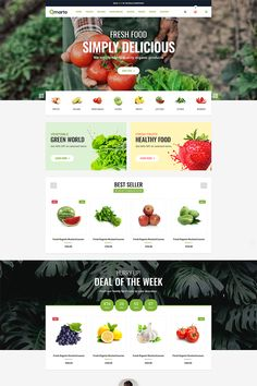 Qmarto - Organic store Responsive Ecommerce HTML 5 Template is a clean and elegant design - suitable for selling organic products, fruits, vegetables, farm, Website Design Inspiration, Website Design Layout, Web Layout, Restaurant Website Design, Restaurant Website Templates, Design Websites, Nature Design, Pag Web, Webdesign Layouts