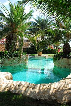 The exotic, lagoon-style pool at Indigo Villa.