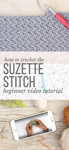 This beginner-friendly video tutorial shows you how to crochet the Suzette stitch, which is used my my free crochet tote bag pattern. This stitch is very simple, but creates an interesting, sophisticated texture. Single and double crochet then skip. Crochet Gratis, Crochet Diy, Crochet Tote, Crochet Afghans, Love Crochet, Crochet Hooks, How To Crochet, Vintage Crochet, Crochet Stitches Patterns