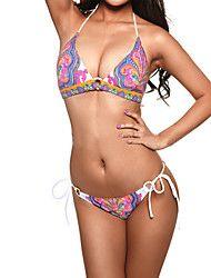 2d11b661c1 Women s Indian Print Pattern Sexy A-line Halter Bikini Swimwear