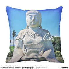 """Exhale"" white Buddha photography pillow"
