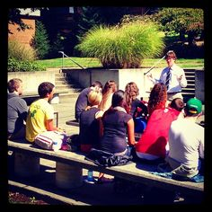 Who loves the weather we've been having? Dr. Joshua Ziefle, Northwest University Professor, decided to take his Foundations for Youth & Family Ministry class outside on Monday to soak up the sun! #SmallClassSizes