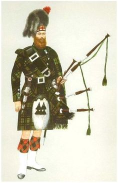 The 42nd (The Royal Highland) Regiment of foot- piper, full dress c1856.