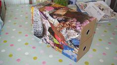 decoupage cardboard drawers