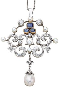 Edwardian sapphire, diamond, and pearl pendant. France, 1910. Via Diamonds in the Library.
