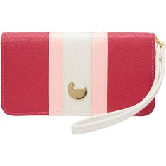 Buxton Prepster Cell Phone Wristlet ($24) ❤ liked on Polyvore featuring bags, handbags, clutches, ladies small wallets, ladies wallets, pink, red wristlet, pink wristlet, zip wristlet and cell phone purse