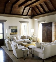 neutral with wood ceiling