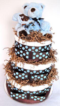 Baby Boy Diaper Cake  Blue/ Brown Polka Dot by DomesticDivaDesignz, $80.00