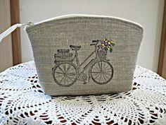Linen Clutch Cosmetic Bag  Purse Retro by Antiquebasketlady, $13.00