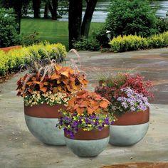 Pride Garden Products Esteras Collection Vasos Round Concrete-Rust Fiberglass Bowl Planters (Set of 3)-84076 - The Home Depot
