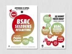 Ontwerp en opmaak affiches en flyers voor Seizoensafsluiting 2014 van handbalvereniging BSAC Maasbree.  Eigen werk.