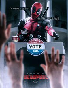 Vote for Deadpool Ryan Deadpool, Ryan Reynolds Deadpool, Deadpool Love, Deadpool 2016, Deadpool Funny, Deadpool Stuff, Lady Deadpool, Marvel Funny, Deadpool Movie Poster