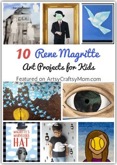 10 Rene Magritte Art Projects for Kids Magritte was an artist who painted regular people and objects – in a completely irregular style! Learn more about this cheeky artist with these 10 Rene Magritte Art Projects for Kids. Rene Magritte Kunst, Magritte Art, Art Lessons For Kids, Art Activities For Kids, Art For Kids, Artists For Kids, Kid Art, Summer Art Projects, Projects For Kids