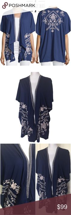 NWT Johnny Was Embroidered Draped Cardigan XS Navy NWT. JWLA for Johnny Was Embroidered Open Draped Cardigan. Size XS. Shawl collar. Draped open front. Beautiful detailed Embroidery on front and back. Half sleeves. Relaxed silhouette. Asymmetric Hem. Cotton; polyester trim. Johnny Was Tops