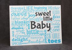 Baby Shower Greeting Card, New Baby Card, Modern Typography - pinned by pin4etsy.com