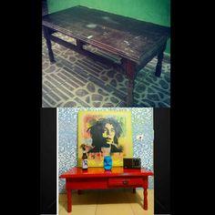 Mesa de centro, retirada da rua e restaurada com Laqueação. #recassiosilva