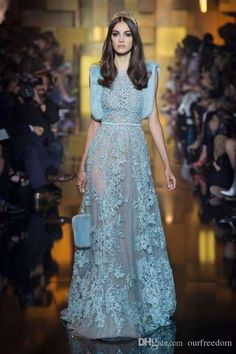 Fashion 2016 Elie Saab Long Prom Dresses Sheer Crew Neck Lace Crystal Light Blue Tulle Evening Wedding Party Gowns Custom Made 2015 Fall Senior Prom Dresses Sexy Red Prom Dresses From Ourfreedom, $346.6| Dhgate.Com