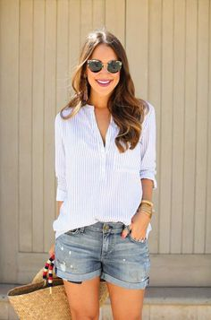 Outfits Casual Summer Outfits for Women//Casual Summer Outfits Girls Casual Summer Outfits For Women, Cute Casual Outfits, Short Outfits, Girl Outfits, Spring Outfits, Fashion Outfits, Shorts Outfits Women, Denim Shorts Outfit Summer, Beach Outfits