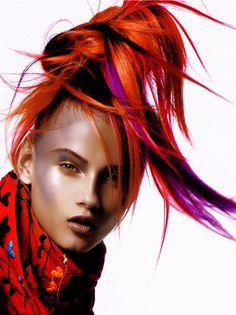 anna selezneva - hair color, red, yellow, purple fashion hairstyles for flair magazine. Shot in paris at pin-up studio in 2006.  Photo: philippe cometti, model : anna selezneva, hair : nicolas jurnjack