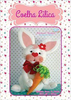 Eu Amo Artesanato: Coelho com molde Felt Crafts, Easter Crafts, Diy And Crafts, Arts And Crafts, Homemade Dolls, Quilled Paper Art, Felt Toys, Baby Shower Decorations, Baby Toys