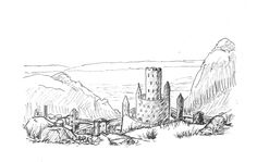 Overlooking Castle Vexstein from the north day 27 Inktober, Castle, Art, Art Background, Kunst, Castles, Performing Arts, Art Education Resources, Artworks
