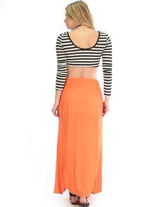 Seaside Orange Maxi Skirt With Side Slit