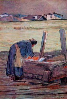 Giovanni Segantini (Arco, 15 gennaio 1858 – monte Schafberg, 28 settembre 1899) - La lavandaia.