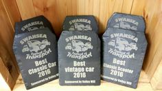 We were only too happy to create bespoke handmade Welsh slate trophies for Swansea Festival of Transport 2016. Congratulations to all the winners!