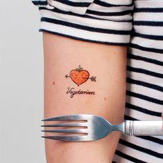 Vegetarian temporary tattoo