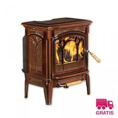 Estufa de leña Hergom Craftsbury esmaltado marrón - Imaginedecó - Tienda online de decoración y hogar
