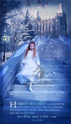 A must have for any baptism princess! LDS princess baptism dress photo shoot pose winter cinderella photo manipulation.