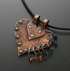 Copper Chakra Heart Pendant funky pendant by JewelryByGaladryl