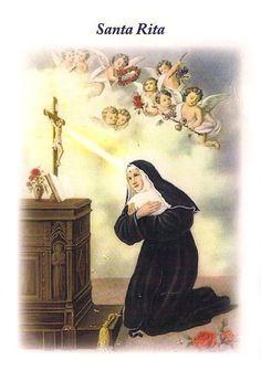Estampa o imagen para imprimir del frente de la Oración a Santa Rita